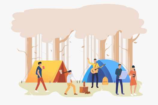 Tourists with tents at campsite vector illustration