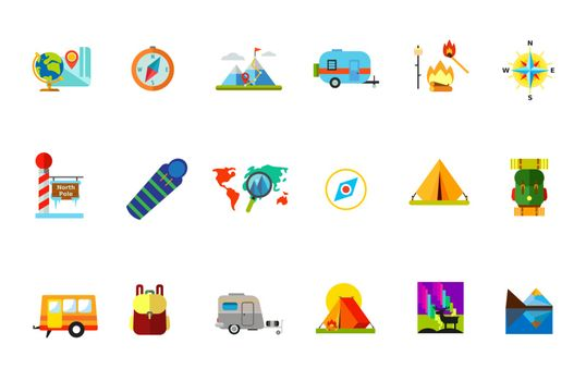 Traveling with tent icon set