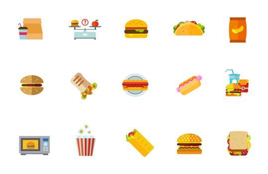 Unhealthy food icon set