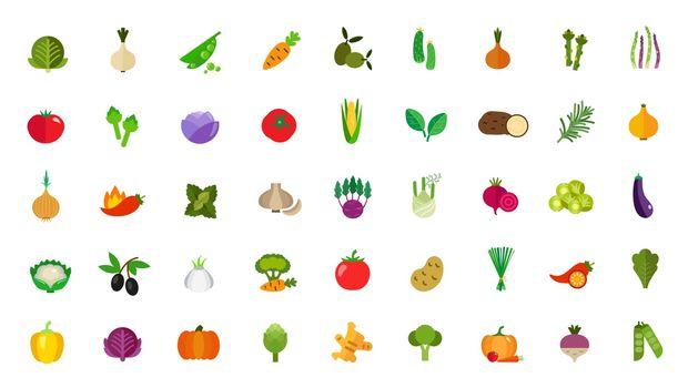 Vegan food icon set