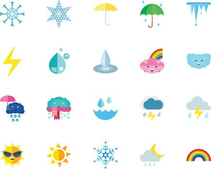 Weather icon set. Can be used for topics like climate, weather forecast, season, emoticons, meteorology