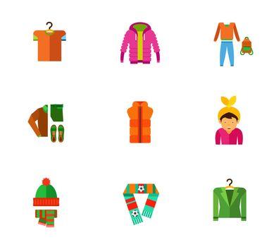 Casual clothes icon set
