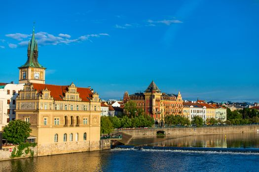 National Museum of Czech composer Bedrich Smetana in the building of the former waterworks of the Old Town. Prague landscape