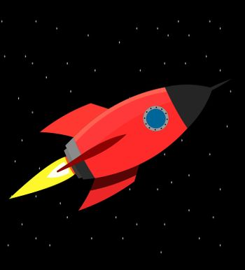 A large red rocket with a round windows in space.rocket,