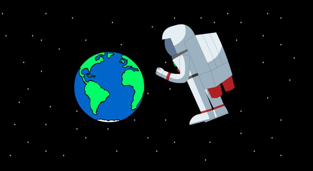 A astronaut drifting in space with the earth in the background.