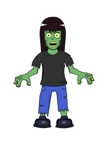 A undead zombie girl wearing teared clothes.