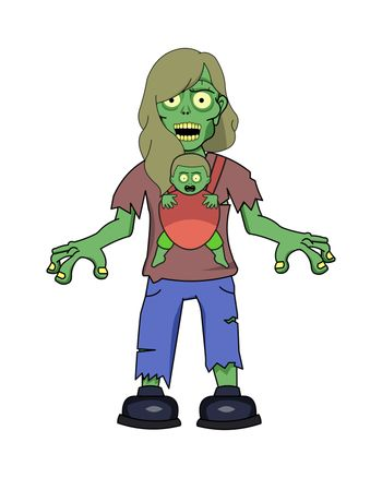 A undead zombie girl with wearing teared clothes.
