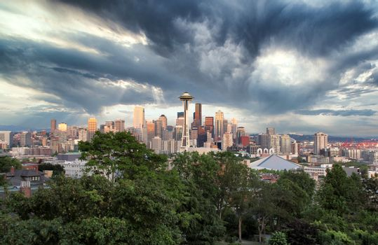Skyline of Seattle Washington in Summer time before a storm