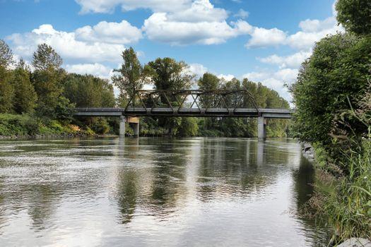 Railroad bridge over large river