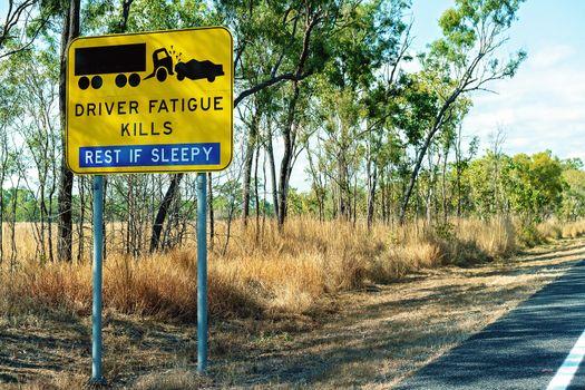 Driver Fatigue Kills Rest If Sleepy Sign On Australian Highway