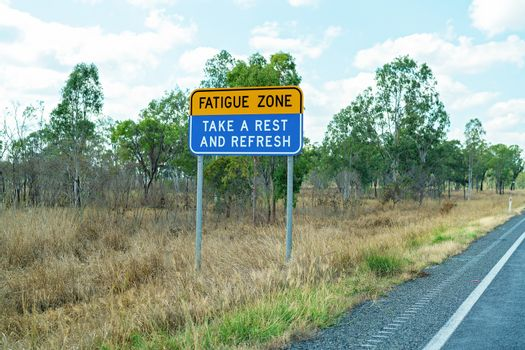 Fatigue Zone Sign To Remind Drivers To Take A Rest