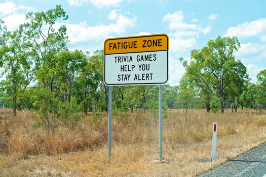 Fatigue Zone Sign Suggesting Trivia Games