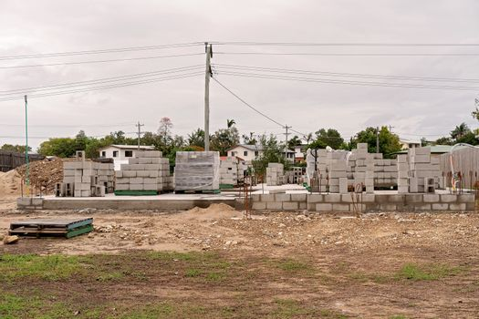 House Under Construction In A Residential Suburb