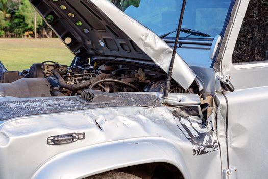 Damaged Car Involved In Highway Crash