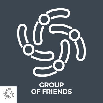 Group of Friends Thin Line Vector Icon Isolated on the Black Background.