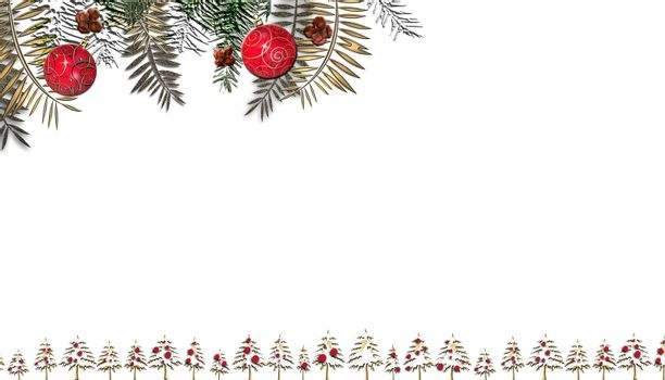 Christmas background on white. Christmas fir, red balls decoration. Copy space. Flat lay. 3D render.