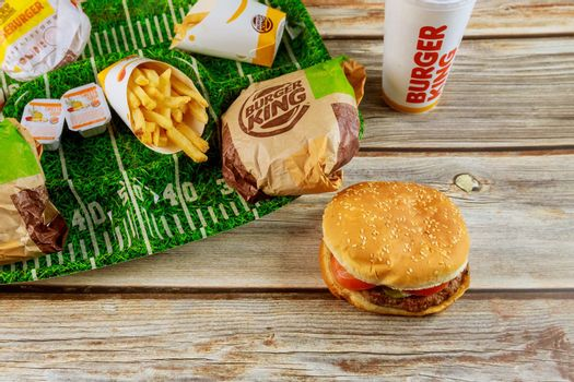 17 January 2020 Chicago IL: Prepared for watching American football player, Burger King with potato french fries