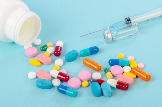 vaccine and pills.