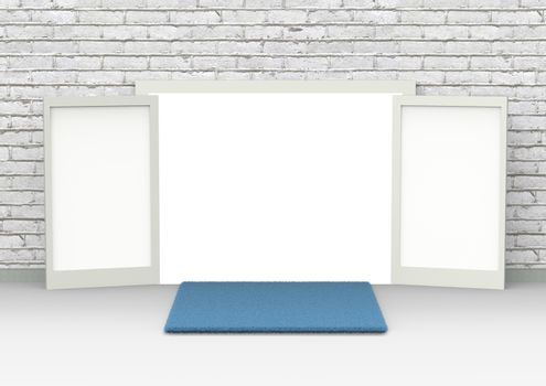 Perspective conceptual image of white opened door. Open gates in a brick wall with blue foot wiping mat on the floor. 3D rendering illustration, front view