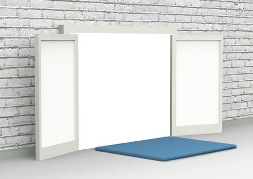Perspective conceptual image of white opened door. Open gates in a brick wall with blue foot wiping mat on the floor. 3D rendering illustration, side view