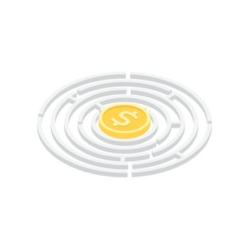 Isometric money in labyrinth, business concept, isolaed on white background