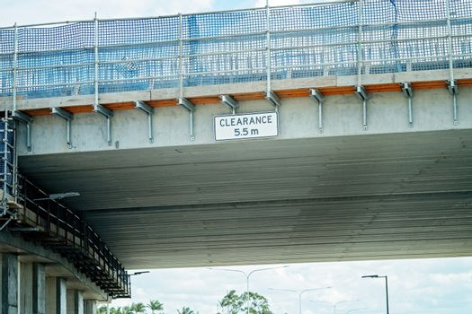 Overhead Clearance Sign On Overpass Under Construction