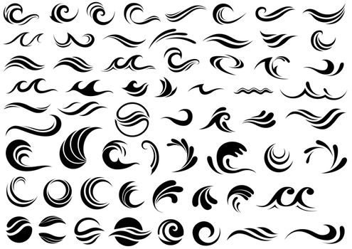 Waves Design Shapes Collection Isolated on White Background - Set of 60 Illustrations, Vector
