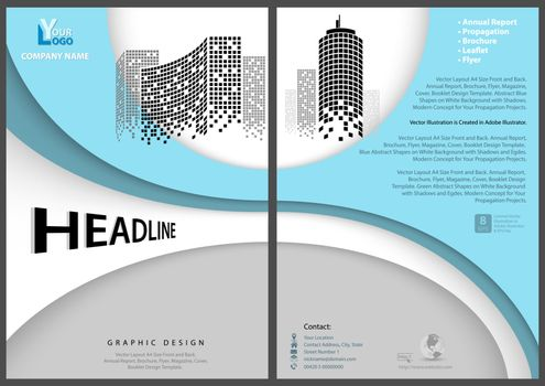 Modern Flyer Template with Geometric Design in Blue Tones - Layered Shapes with Shadows and Imaginary Squared Skyscrapers, Vector