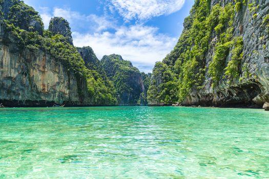 Beautiful tropical island bay at Phi phi island in Thailand.