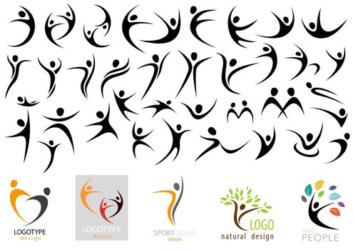 Human Logo Shape Collection - Black Silhouetted Body Shapes in Different Positions Isolated on White Background, Vector Illustration