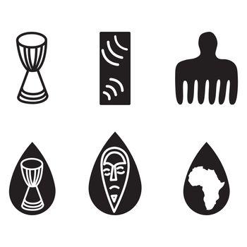 African ethic symbols isolated on white background.