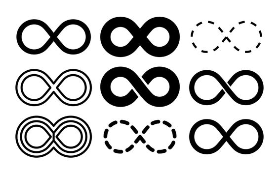 Infinity symbol. Mobius infinite arrow icon set. Endless thin linear image. Vector repetition and unlimited logo