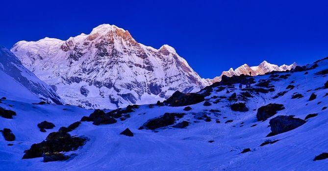 Annapurna South, Annapurna Range Sunrise, Annapurna Conservation Area, Himalaya, Nepal