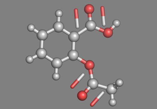 Aspirin molecular model with atoms