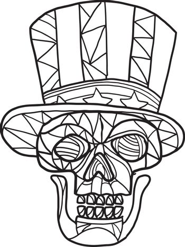 Skull Uncle Sam Black and White Mosaic