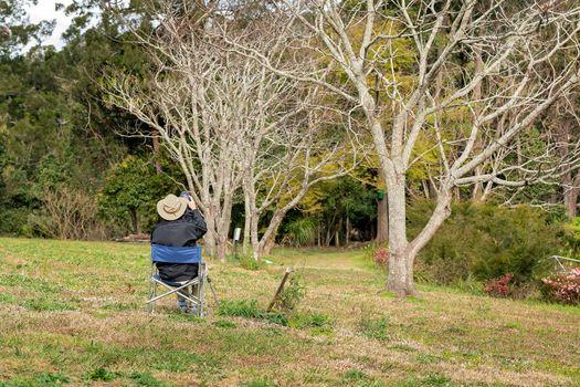 Retiree Photographer Capturing Birds In Trees
