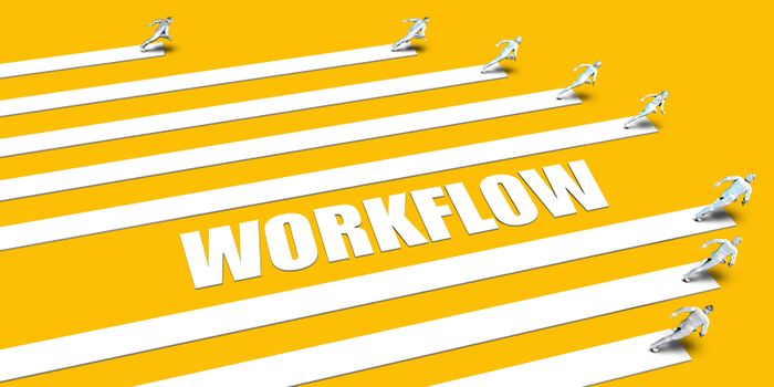 Workflow Concept with Business People Running on Yellow