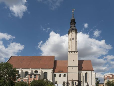 St. Pauls church in Historic old town of Zittau, Saxony, Germany. Summer sunny day, blue sky.
