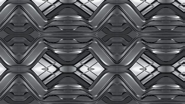 Abstract metal background with geometric embossing 3D .Texture or background