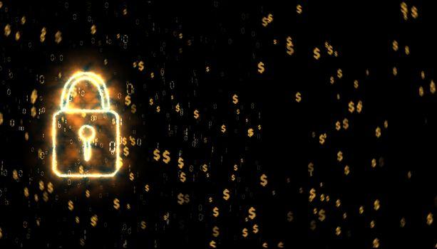 security lock binary digital paticle explosive gold dollar symbo
