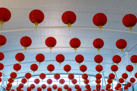 Chinese red lanterns decorated in the Chinese New Year celebrations