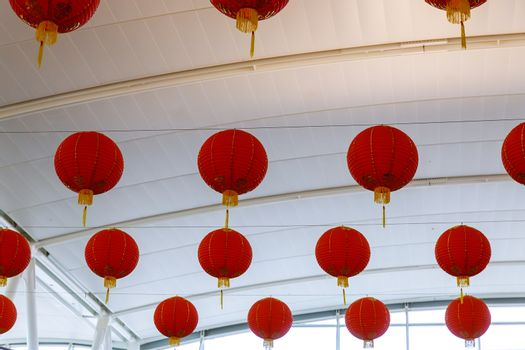 Colorful decorated red Chinese lanterns for New Year