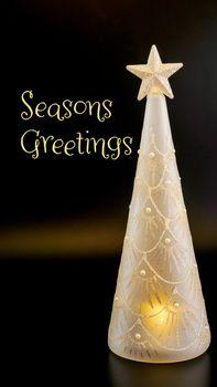 Seasons Greetings Glittering Glass Christmas Tree Decoration
