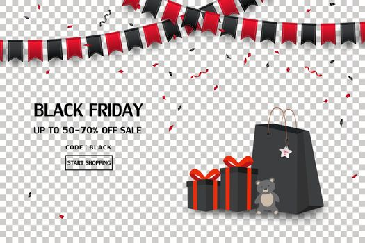 Black friday sale banner with gift boxes,shopping bag,flag and confetti on transparent background,vector illustration