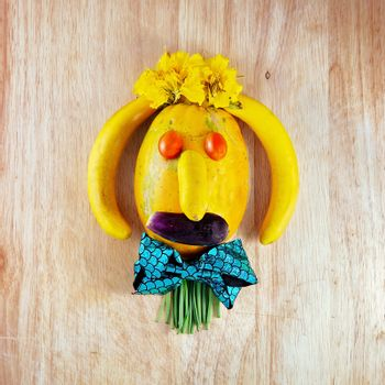 Humorous Face Made From Fruit And Garden Vegetables