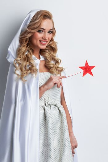 Woman with star magic wand