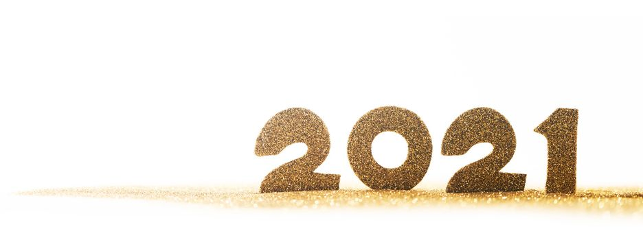 Happy new year 2021 celebration, glitter numbers isolated on white background