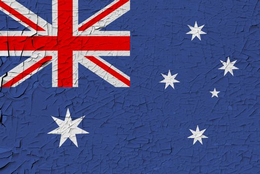 Australia painted flag. Patriotic old grunge background. National flag of Australia