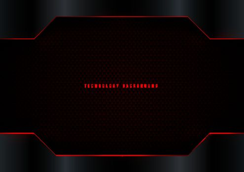 Abstract modern template black metallic frame with red stripes on dark carbon fiber background. Vector illustration