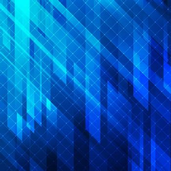 Abstract background blue glowing lights geometric stripes with line grid. Vector illustration